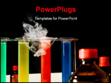 PowerPoint Template - laboratory scene with test tubes bottles liquids smoke