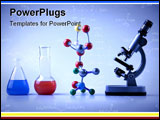 PowerPoint Template - Chemistry Equipment on blue, microscope, atoms, molecular chain and vials witch colored fluid