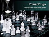 PowerPoint Template - chess game in play. hourglass timer in the background.