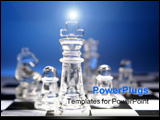 PowerPoint Template - King leading team of glass chess pieces
