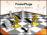 PowerPoint Template - 3d concept of golden money dollar euro and chess