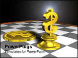 PowerPoint Template - 3d concept of golden chess and money