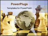 PowerPoint Template - A shiny crystal globe on a chess board