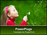PowerPoint Template - Little blond girl puffing a dandelion with flying seeds