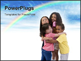 PowerPoint Template - Four young kids having fun and growing up. Childhood learning exploration family