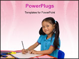 PowerPoint Template - A young girl paints a picture. Family love bonding education.