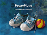 PowerPoint Template - children blue sneakers with red and yellow rubber ball on blue background