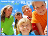 PowerPoint Template - Group of children smiling in front of blue skies.