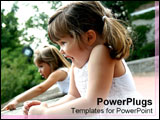 PowerPoint Template - Two little girls squeal excitedly.