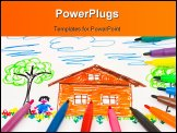 PowerPoint Template - Child drawing and pens - abstract art background