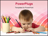 PowerPoint Template - Cute child focused drawing on white paper isolated