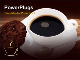 PowerPoint Template - Chocolate chip cookie with a cup of black coffee in a white cup