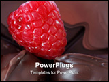 PowerPoint Template - Single red raspberry surrounded by dark chocolate