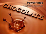 PowerPoint Template - 3D render of simple chocolate splash and inscription