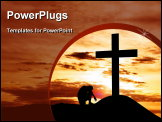 PowerPoint Template - Dramatic sky scenery with a mountain cross and a man seated hopelessly under the cross