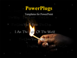 PowerPoint Template - hand holding a flaming match, which lights religious christian words.