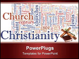 PowerPoint Template - Word cloud concept illustration of Christian religion