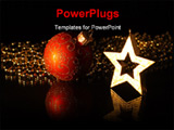 PowerPoint Template - A christmas-star and a red christmas-bauble are reflected on black ground.