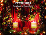 PowerPoint Template - A teddy sitting between two small christmas trees and two lamps with a wreath over his head