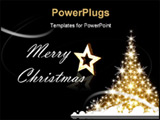 PowerPoint Template - Golden Christmas tree with Merry Christmas greetings