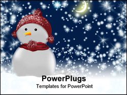 PowerPoint Template - Snow person on background fairy-tale starry sky