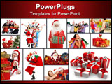PowerPoint Template - Santa Claus in pajamas holding a gift for you.