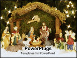 PowerPoint Template - christmas nativity set under the christmas tree