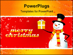 PowerPoint Template - A fully scalable vector illustration of Snowman with gift.