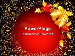 PowerPoint Template - Vector illustration of Merry Christmas background and bells