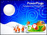 PowerPoint Template - cartoon illustration with santa his sleigh and his reindeer