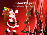 PowerPoint Template - illustration of Santa Claus with presents isolated on white