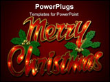 PowerPoint Template - Merry Christmas sign being lit up by electrics