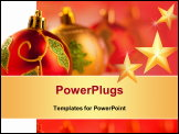 PowerPoint Template - Christmas golden red baubles in a row with colorful lights background
