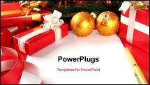 PowerPoint Template - Christmas card with gift boxes and Christmas ornaments and Christmas tree branches and Christmas balls.
