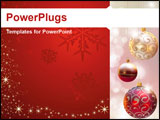 PowerPoint Template - Christmas decoration over blurred shiny background.
