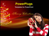 PowerPoint Template - Girl with Christmas gift