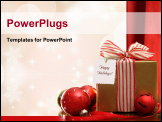 PowerPoint Template - Gold Christmas gift box and ornaments with sparkle lights in background