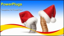 PowerPoint Template - Stacks of gold and silver coins dressed in Santa