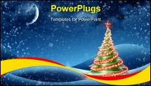 PowerPoint Template - Christmas Tree! Unique Technique of Painting. Background.
