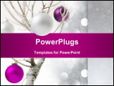 PowerPoint Template - photo of colored baubles on frozen tree