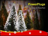 PowerPoint Template - Christmas tree forest holiday background with winter ornament & abstract defocus lights decoration