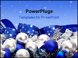 PowerPoint Template - Silver and blue Christmas decorations and tree adornments on white background with copy space above