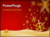 PowerPoint Template - snowflakes falling on hills - with warm rich colors