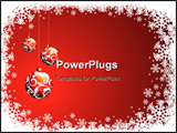 PowerPoint Template - Vector Christmas illustration with red glass ball and snowflakes.