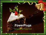 PowerPoint Template - Slice of Christmas cake decorated with holly and berries