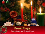 PowerPoint Template - hristmas scene displaying three candle lights, one christmas wreath, one stuffed teddy bear and one