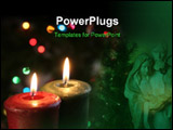PowerPoint Template - christmas candles set against a tree.