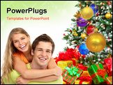 PowerPoint Template - Young happy couple near a Christmas tree. Isolated over white background