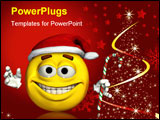 PowerPoint Template - 3d render of a christmas emoticon.