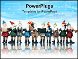 PowerPoint Template - Elves playing their music instruments at Christmas